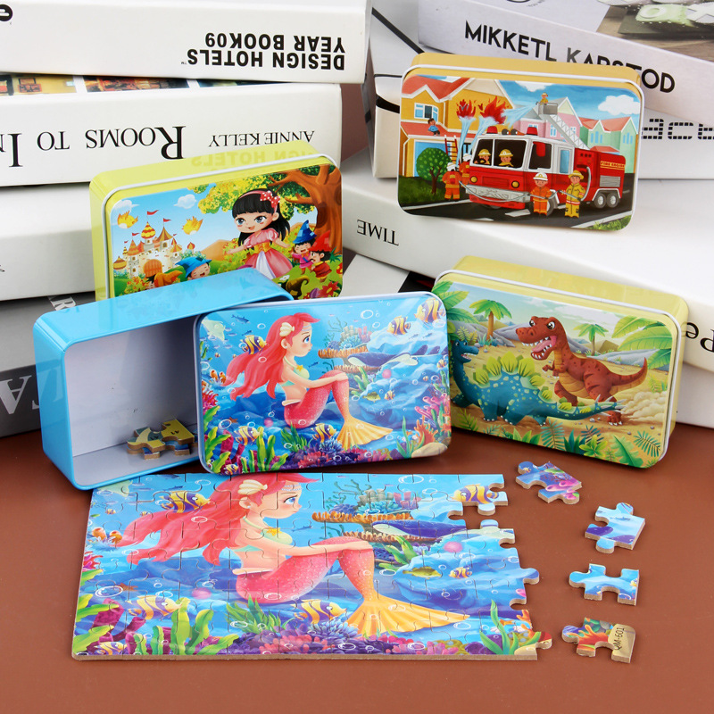 60PCS iron box wooden jigsaw cartoon graphic puzzle children early teaching toys