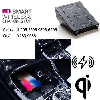 For Mercedes BenZ QI Wireless charging Hidden Wireless charger Phone Holder For Class C GLC W205 S205 C205 A205 X253 C253