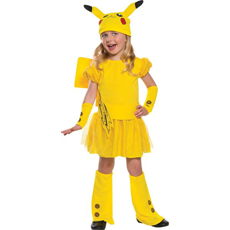Little Girls Pikachu Pokemon Go Costume Wagging Tail  Halloween Kids Cosplay Carnival Party Fancy Dress-Up Size Age 3-5y