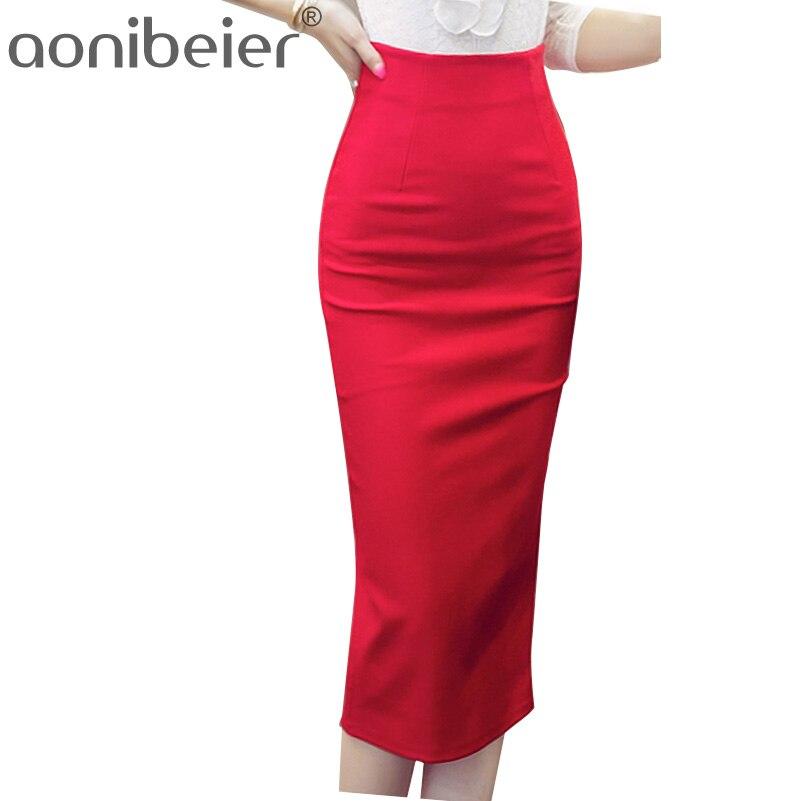 Aliexpress.com  Comprar Aonibeier venta mujeres falda lápiz falda con cintura  alta Oficina apretada paquete ocasional delgado de la cadera falda sin ... 7ed946f77310