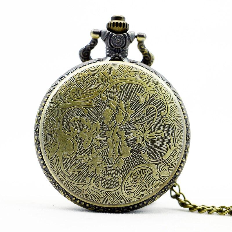 PB381-Vintage-Gifts-Fish-Pattern-Pocket-Watch-Quart-Chain-Necklace-Bronze-Full-Hunter-TD2033