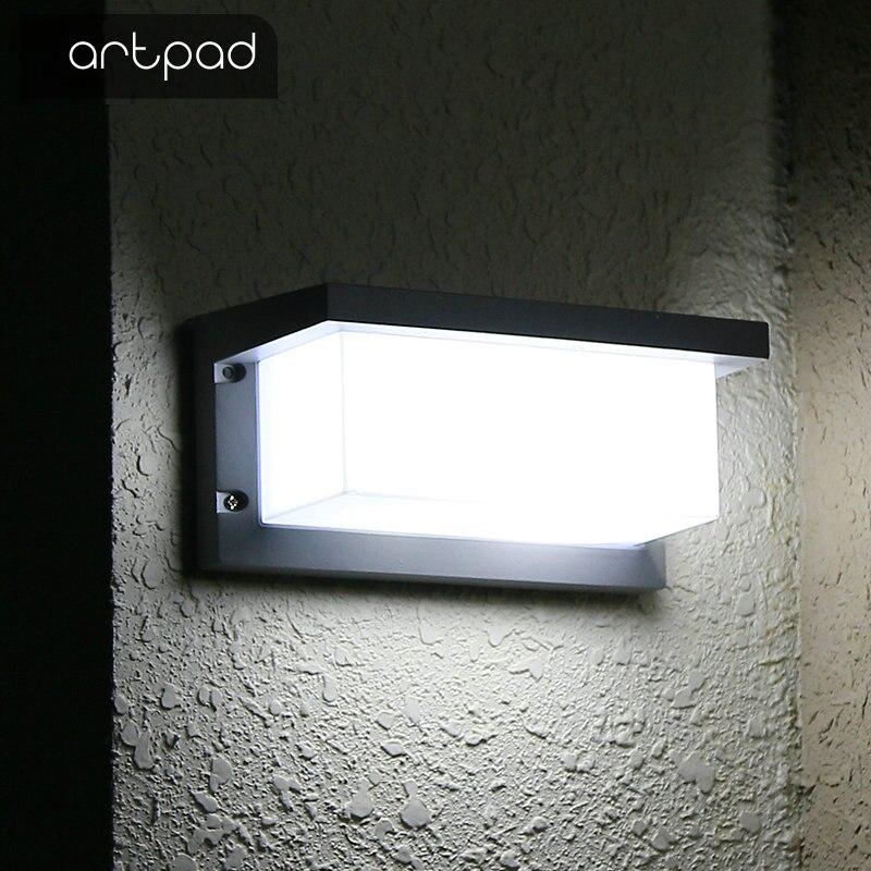 Artpad 12 Вт 18 Вт черный открытый светодиодный IP65 Водонепроницаемый бра с Сенсор Европейский Вилла проход балкон свет для сад AC110V-220V