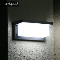Artpad 12W 18W Black Outdoor LED IP65 Waterproof Wall Lamp With Sensor European Villa Aisle Balcony Light for Garden AC110V 220V