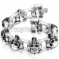New Men's Large Heavy Stainless Steel Bracelet Link Wrist Skull Design Biker Bicycle Motorcycle Chain Bracelet 23cm*26mm