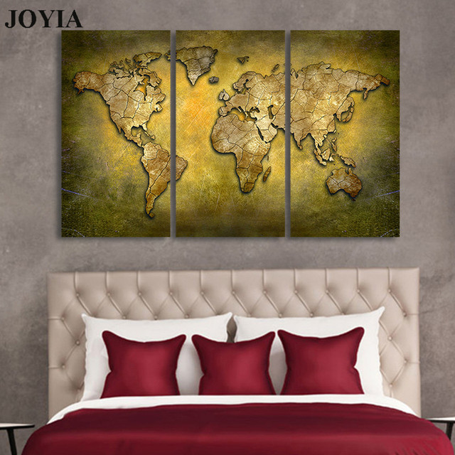 Vintage World Map Art.Large Map Wall Art Print Brass Color World Map Canvas Prints