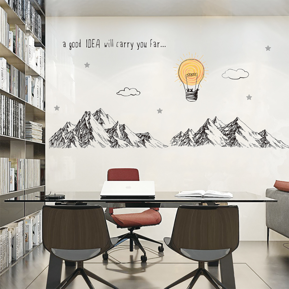 Mountains Wall Stickers For Meeting room Business Decor DIY Removable Wall Decal office decoration QTM368