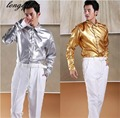 Men's Stage Performance Silver Gold Shiny Blouse Dinner Party Chorus Photography Studio Shirt HF305