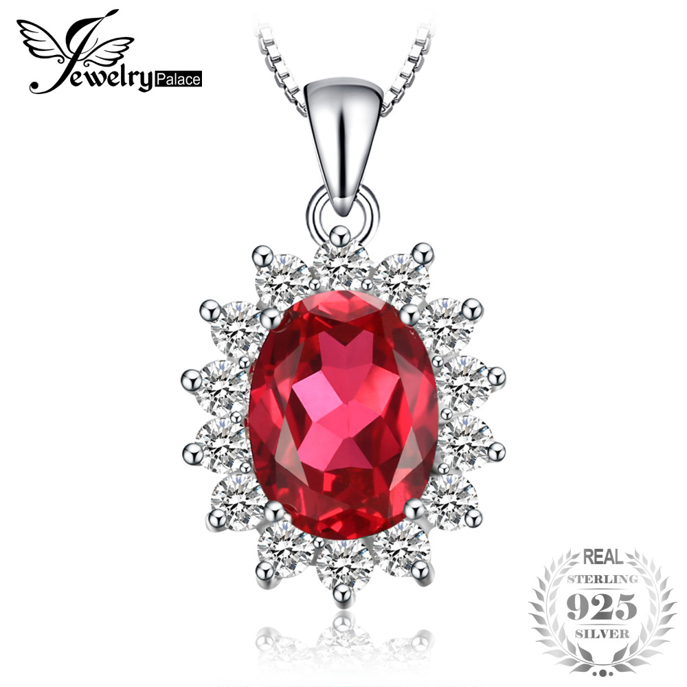 JewelryPalace 925 Sterling Silver 3.2ct Created Red Ruby Women Pendant Necklaces Princess Diana Engagement Jewelry No ChainJewelryPalace 925 Sterling Silver 3.2ct Created Red Ruby Women Pendant Necklaces Princess Diana Engagement Jewelry No Chain