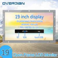 19Inch Resistance Touch ScreenOpen Frame Metal Shell Industrial Monitor VGA/USB Interface TFT Type Widescreen Display