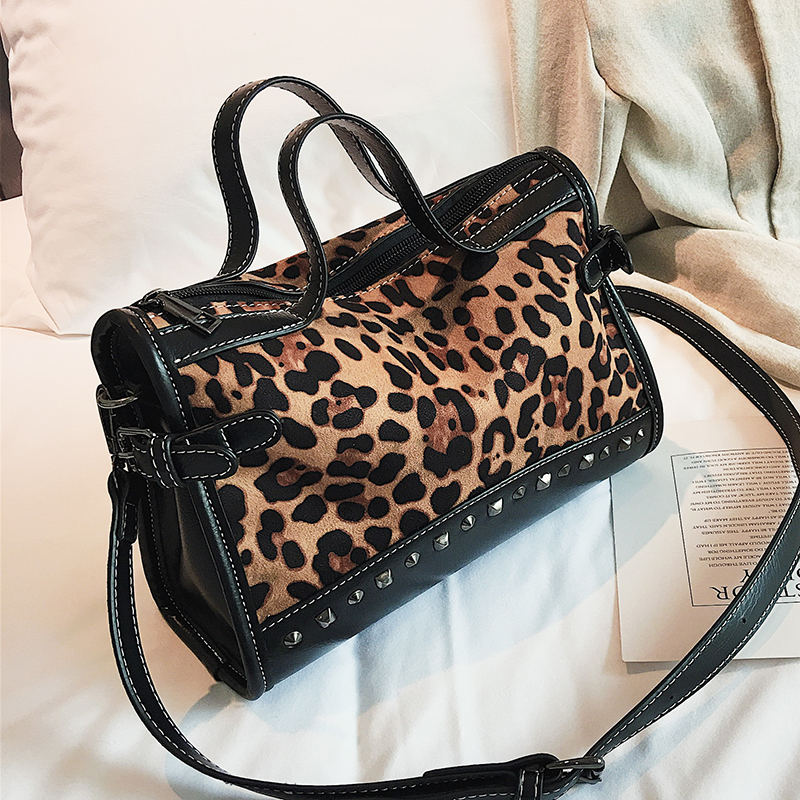Handbag Women Scrub-Shoulder-Bag Leopard Totes Patchwork Zipper Fashion Rivet High-Capacity