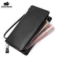 BISON DENIM luxury fashion men wallets genuine leather zipper clutch purse brand male business phone wallet