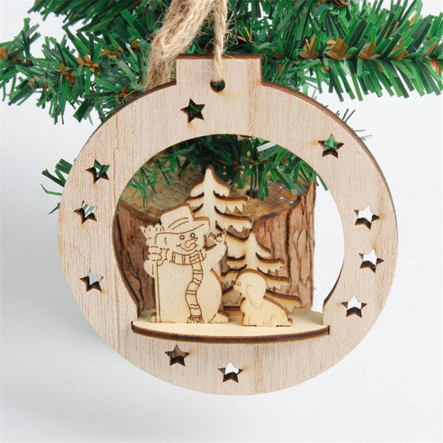 2018 new wood christmas decoration 1pc snowflake wood embellishments rustic christmas tree hanging ornament decor best gift 30 in pendant drop ornaments - Rustic Wood Christmas Tree