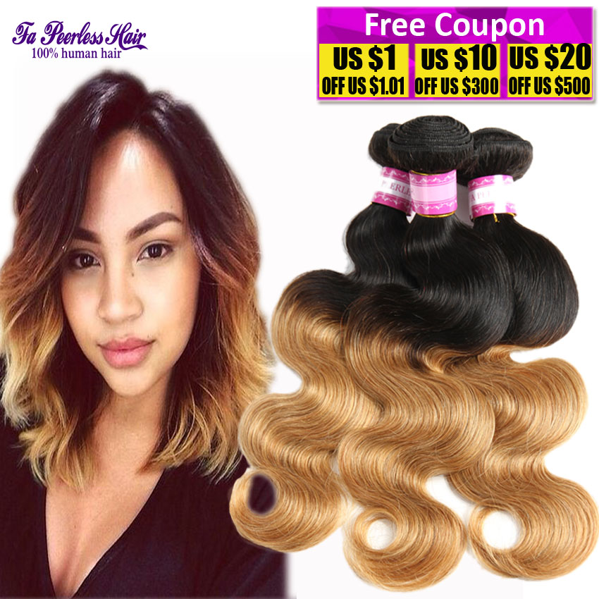 Cheap Two Tone Hair Weave Remy Indian Hair