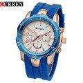 Curren homens de quartzo relógios de luxo casual esporte relógios de pulso à prova d' água relogio masculino 8163