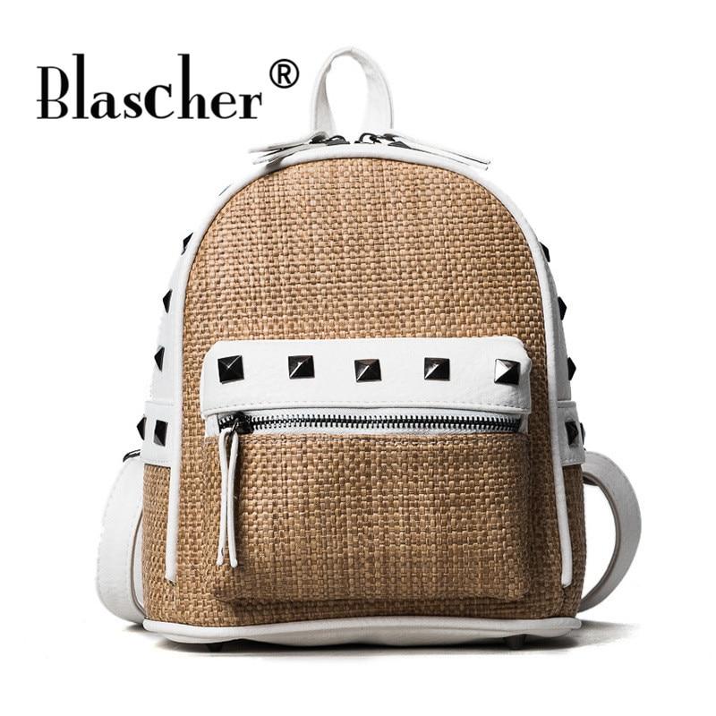 Blascher Fashion Female Straw and Pu Leather Patchwork Backpack Beach Rivets Girls School Bag Summer 2017