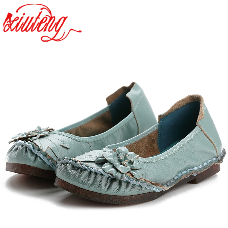 Xiuteng Genuine Leather Women Shoes Casual Flower Single Flat Round Toe Style Boat Shoes Soft Comfortable Women Flats 2018 New 2016 new fashion women flats women genuine leather flat shoes female round toe casual work shoes women shoes