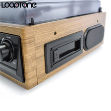 LoopTone USB Turntable Vinyl Record Player 2 Built-in Speakers Turntables W/ AM/FM Radio Cassette LP Recording