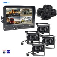DIYKIT AHD 9Inch Split QUAD Car Monitor 960P AHD IR Night Vision Rear View Camera Waterproof with SD Card Video Recording