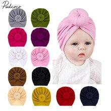 Детские аксессуары для новорожденных мальчиков и девочек, одноцветные шапки с бантиком, хлопковая шапочка карамельного цвета, зимняя теплая шапка