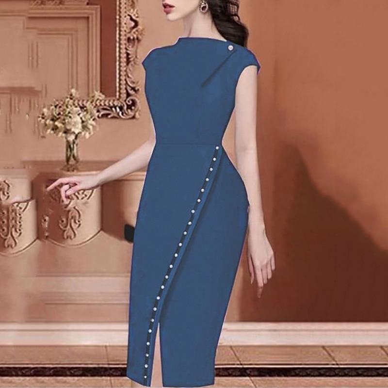 2019 Summer Women Office Dress Elegant Workwear Slit Prom Party Dress Solid Button Beading Embellished Slit Irregular Midi Dress