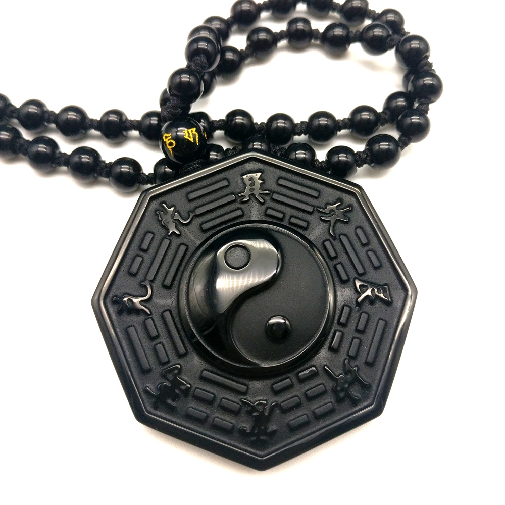 Pendant Necklaces Classic Black Obsidian Necklace Chinese Bagua For Men Women Jewelry -5066
