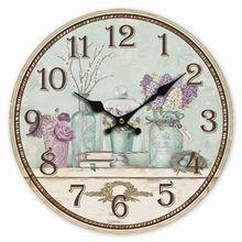 Ретро Стиль фиолетовый цветок лаванды Home ваза декоративная настенные часы Дерево 34 см