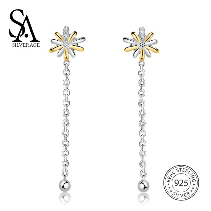 SA SILVERAGE Fashion Sky City Temperament Simple Sun Drop Earrings For Women Fine Jewelry 2018 New Arrival
