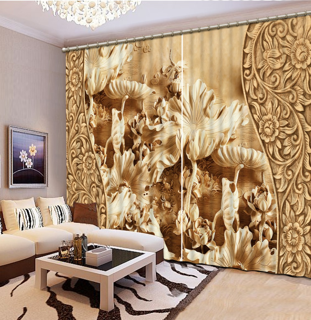 Luxury Blackout Curtains Customize 3d Retro Carved Lotus For Living Room Kitchen