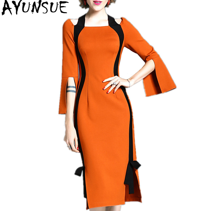 AYUNSUE 2018 Autumn Winter Dress Female Elegant Bodycon Ladies Dresses For Women Midi Office Dress Clothing Vestido Sexy WYQ1093 bonu sexy bodycon sweater dress simple elegant dress female winter knitted flare sleeve split dresses for women vestidos
