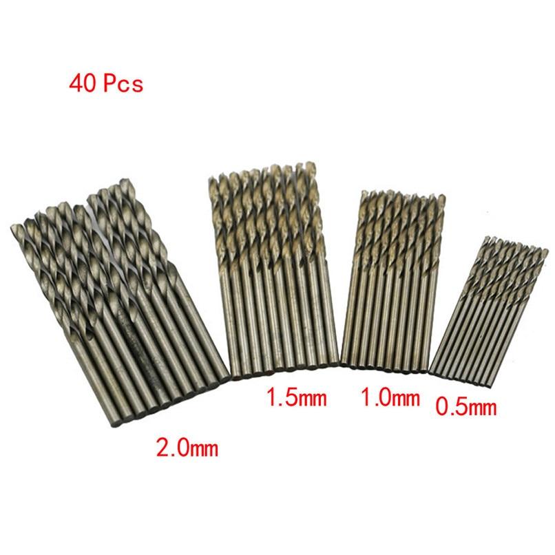 цена на High Quality Power Tools 40 Pcs Mini Drill HSS Bit 0.5mm-2.0mm Straight Shank PCB Twist Drill Bits Set #F#35TB