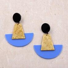 Fan-shaped Acrylic Earrings For Women Geometry Statement Resin Earring Vintage Blue Earing pendientes mujer moda 2019