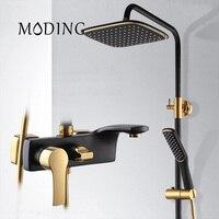 MODING Luxury Black Bath Taps Shower Faucet Gold And Black Bath Faucets Column Shower Panel Rainfall