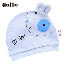 Halilo Unisex Cotton 0-3 Months Newborn Baby Hats Cartoon Boy Girl Hat Pink Yellow Blue Girls Caps New Born Baby Accessories(China)