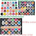 2014 new 90 Mix color nail art  uv gel polish , Pure + Glitter + Glitter Paillette Hexagon colors tools Solid Builder  kit  drop