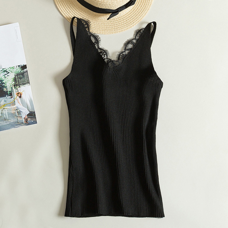 Lace Knitted V-neck   Tank     Tops   Sexy Vest Solid Club   Tops   Women Black Beige T shirt Female Cotton Polyester   Tank     Top