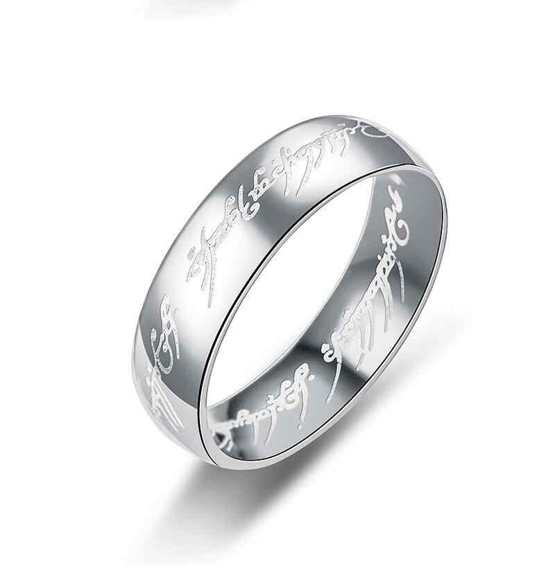 TÌNH YÊU nhẫn cưới Ma Thuật Thư The Lord Of The của Một Nhẫn Đen Bạc Vàng Titanium Thép Không Gỉ Vòng cho Nam Giới Phụ Nữ wj229