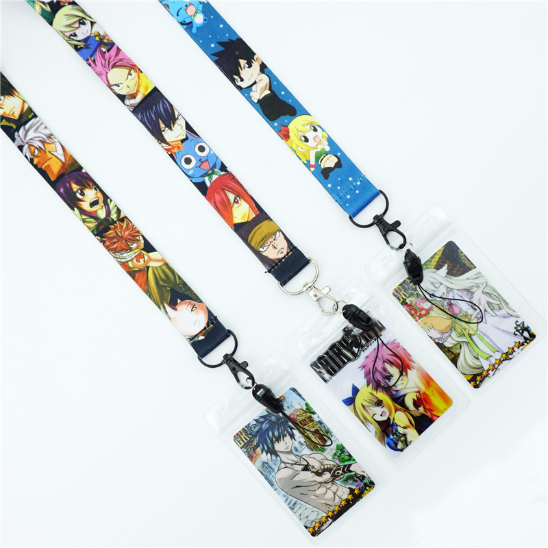 lot Cartoon Japanese Anime Lanyards ID Card Badge Holder Keychain Neck Key