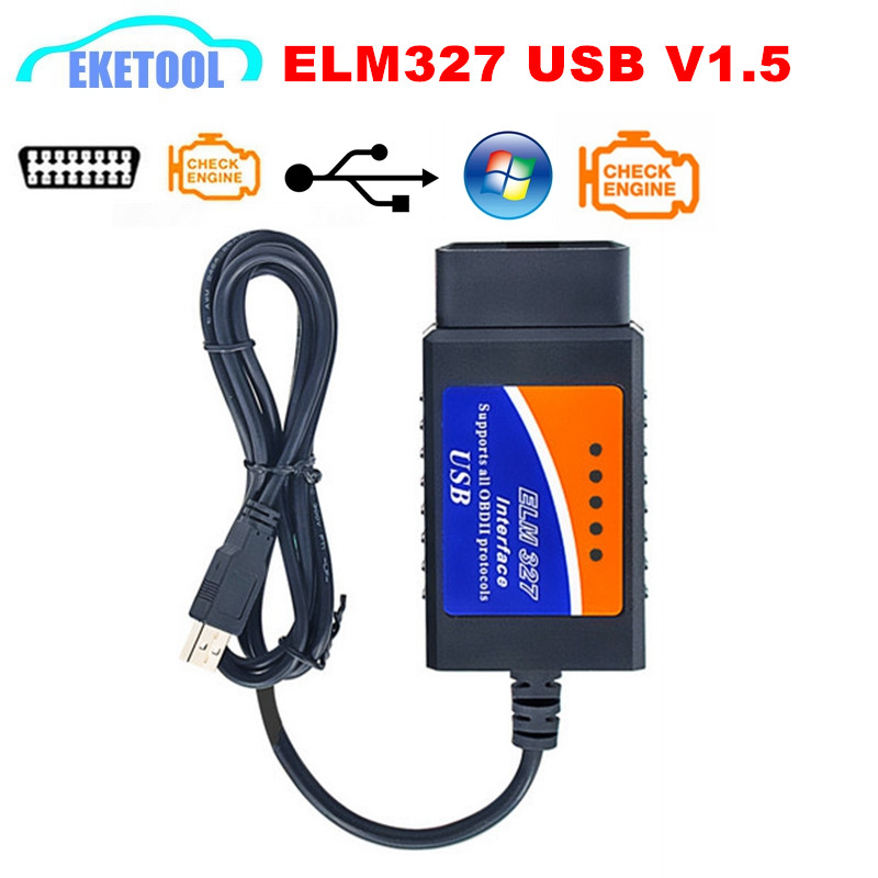 Elm327 USB v1.5 cable USB de diagnóstico del coche interfaz soporta todos obd2 protocolos para Ventanas Elm 327 USB OBD escáner