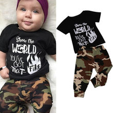 2pcs Short Sleeve Newborn Baby Boys T-shirt Tops+Camouflage Pants Outfits Clothes Summer Casual Suit Support Drop Shipping