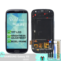 LCD Display for Samsung Galaxy S3 I9300 Touch Screen Digitizer Assembly Bezel Frame and Metal Frame with Home Button