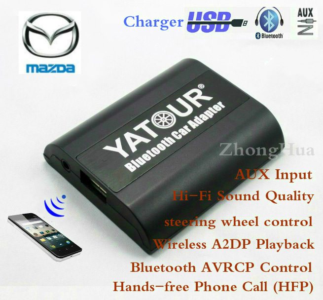Yatour Bluetooth Car Adapter For mazda 3 5 6 cx-7 mpv RX8 2003-2008 YT-BTA Hand free AUX IN HI-FI A2DP USB Charging port yatour car digital music cd changer aux mp3 sd usb adapter 17pin connector for bmw motorrad k1200lt r1200lt 1997 2004 radios
