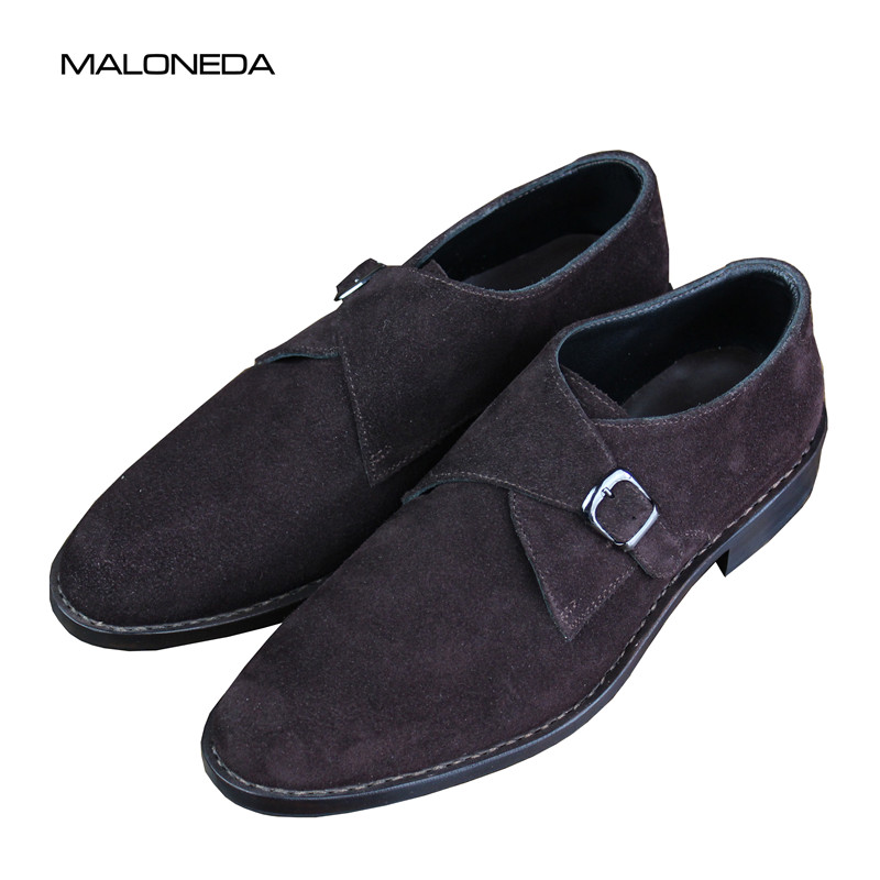 417991ab41 Con Goodyear Correa Cuero Marrón En Welted Hombres De Ocasionales Suela  Monje Resbalón Bespoke Maloneda Ante Solo Zapatos ...