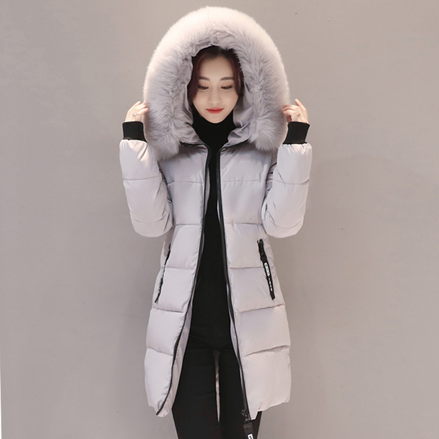 2018 New Winter Jacket Women Long Slim Large Fur Collar Hoode Women  Cotton coat Thick Female Wadded Jacket Plus Size parka
