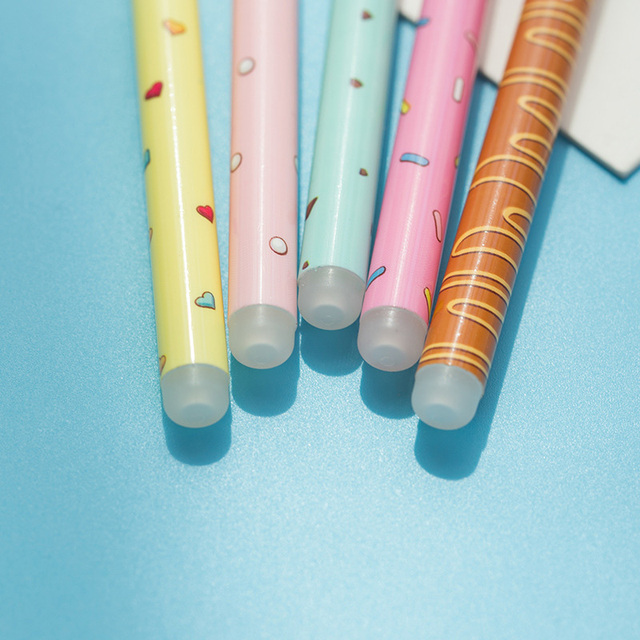 2+50/Set 0.5mm Cute Donuts Ballpoint Pens Kawaii Erasable Pens Blue Ink Ball Pens For Girls Writing School Supplies Stationery 4