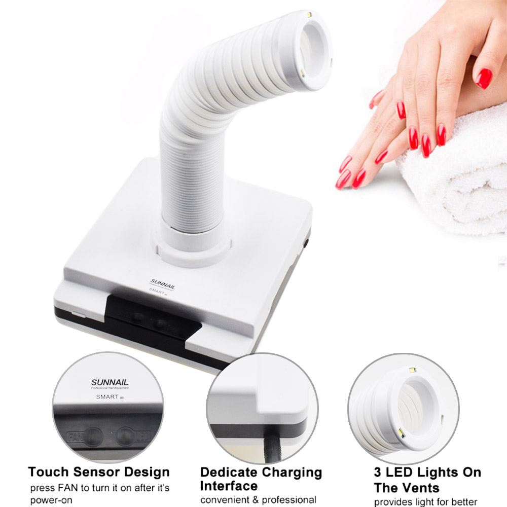New 60W Strong Nail Dust Collector Suction Dust Cleaner Retractable Elbow Design Fan Nail Vacuum Cleaner
