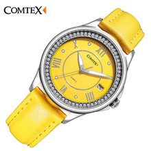 Comtex fashion Ladies watch Casual Yellow Leather Silver Case watch watches women Quartz wristwatch Calendar relogio clock gift
