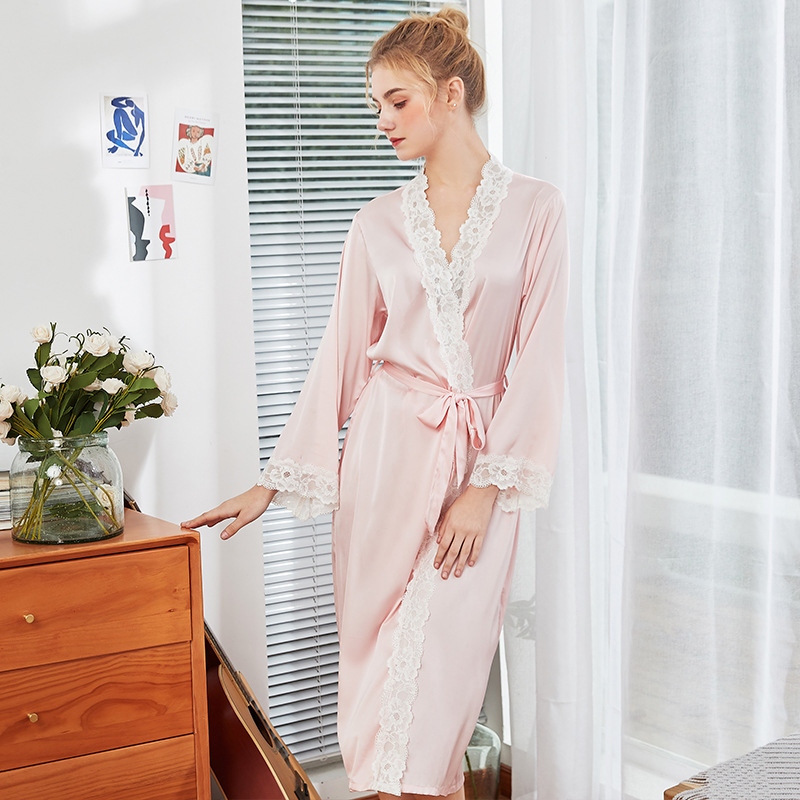 ENGAYI Brand Women Silk Stain Bathrobe Robes Set Nightgown Sexy Lace Night Gown Sleepwear Night Dress WP1012