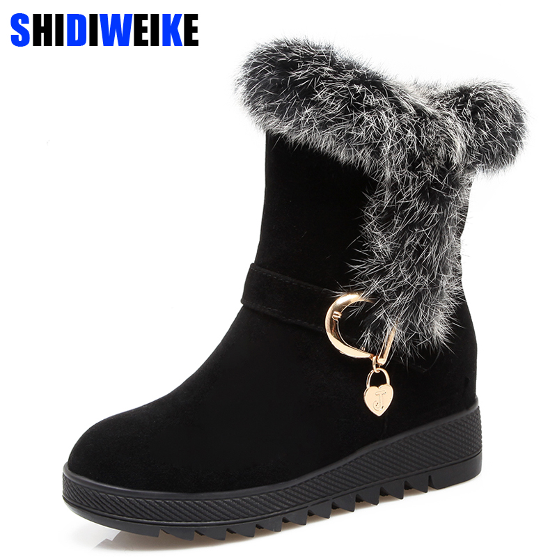 Winter 2018 Fur Natural Rabbit Hair Snow Boots Woman Warm Flat Mid Suede Leather Short Boots For Women m965 graceful short side bang fluffy natural wavy capless human hair wig for women