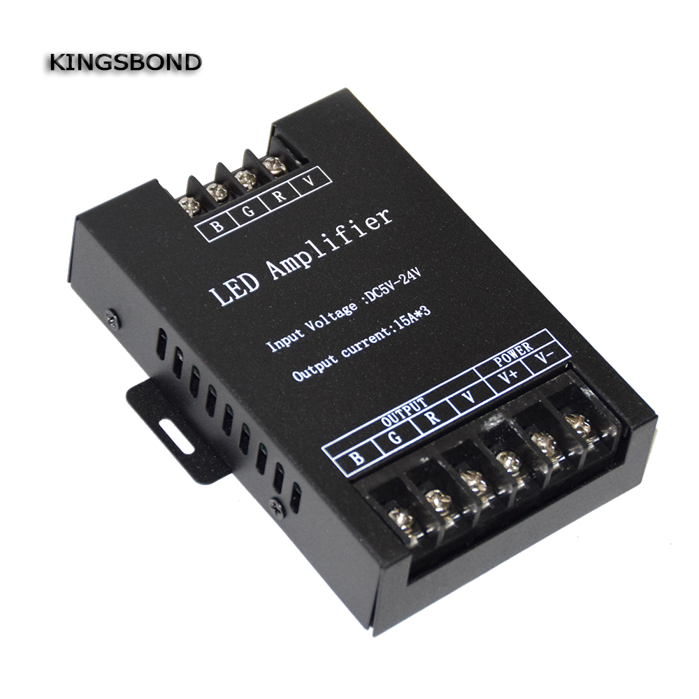 Led RGB Amplifier Controller input 5V/12V/24V <font><b>30A</b></font> Signal Repeater 3*15A for 3528 /5050 RGB Led strip image