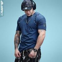 Aimpact Cotton Mens Tshirts Vintage Ripped Hole Hip Hop T Shirt Men Fashion Casual Streetwears Mineral